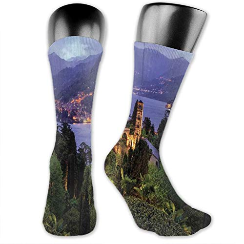 Moruolin Cool Colorful Fancy Novelty Casual Cotton Socks,Lago Di Camo Lake Famous Coastal Village With Aerial View Picturesque Panorama