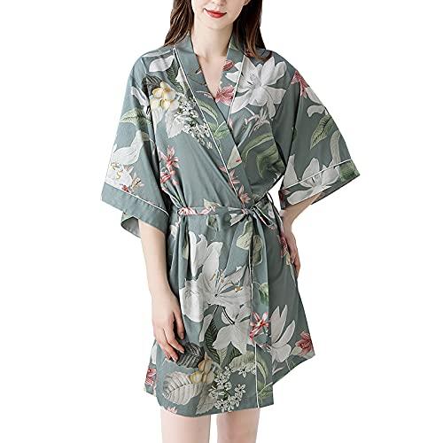 TBATM Bata De Kimono Bata Corta De Satén Sedoso Bata De Baño para Mujer Impresión Albornoz Dama De Honor Regalo De Despedida De Soltera Pijamas De Fiesta De Boda,Verde,S