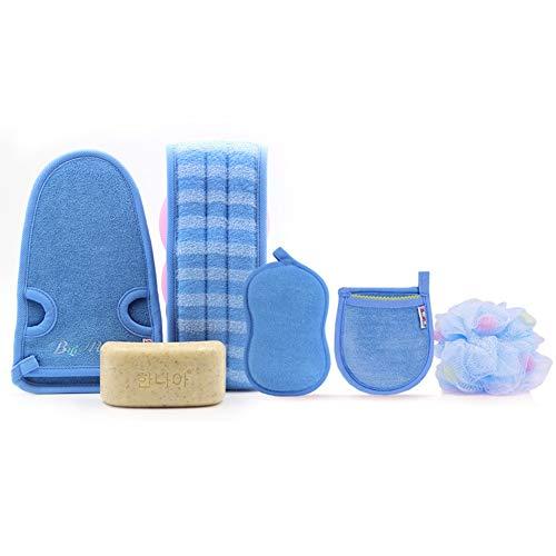XIAOZHEN Brosse pour Le Corps Brosse de Bain Brosse 5 Piece Set Mme Rub Serviette De Bain Brosse Brosse for Le Dos De Nettoyage Serviette Combinaison Bain Set (Color : Blue)