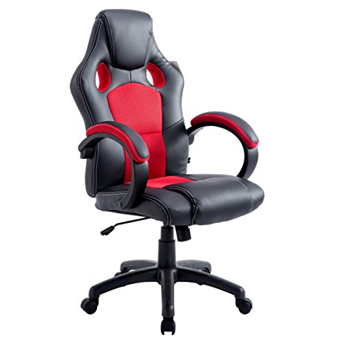 Cherry Tree Furniture Sport Racing Gaming PU Leather & Fabric Swivel Office Chair Red