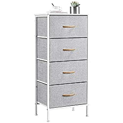 ✅4-DRAWER VERTICAL STORAGE TOWER: Made of premium iron, soft fabric, 210D polyester and durable wooden boards, our dresser could be a perfect space saver and creates you a tidy and contemporary space. The maximum weight capacity of the tabletop is 13...