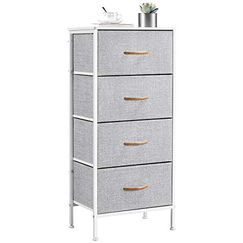 Yaheetech Narrow Chest of Drawers Bedroom Storage Drawers with wooden Handles Fabric Storage Unit Clothes Organizer Dresser for Living Room Nursery Hallway Easy Assembly, 45x30x98cm