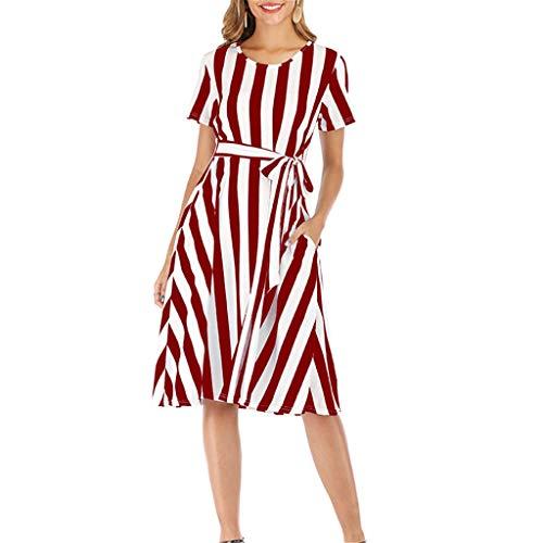 Dasongff Vestido de mujer a rayas, cintura alta, manga corta, vestido de verano con cinturón, elegante vestido de noche, vestido de fiesta, largo hasta la rodilla, vestido de playa, suelto y casual