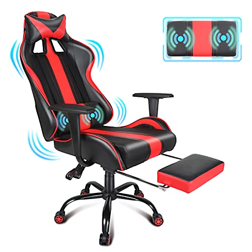 Red Gaming Chair with Massage Luxury Racing Video Game Chair E Sports Ergonomic Office Computer Game Chairs with Adjustable Swivel Rocker, Comfortable Footrest, Headrest and Lumbar Support for Adults