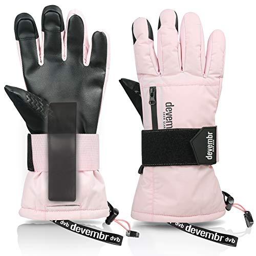 devembr Skihandschuhe Herren & Damen, wasserdichte Snowboard-Handschuhe mit abnehmbaren Handgelenkschutz & 3M Thinsulate Insulation,Schneehandschuhe mit langlebigem PU-Material,Touchscreen(Rosa, XS)