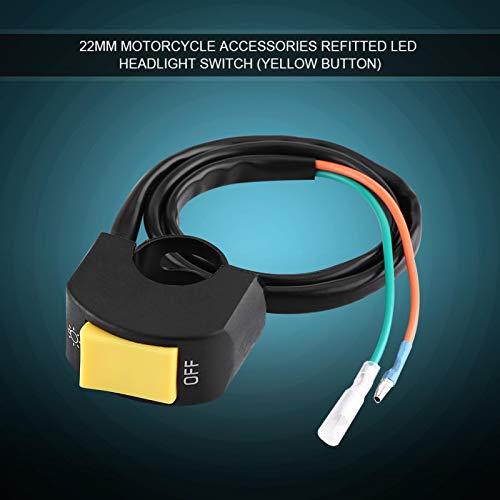 Fydun Interruptor de encendido/apagado de los faros LED de montaje en manillar 7/8 pulgadas de motocicleta con botón(Boton amarillo)