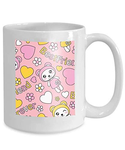 N\A Taza de café de 11 oz Lindo Panda Chicas aman Las Flores Rosa patrón de Dibujos Animados Adecuado diseño de Papel Tapiz para niños desecho
