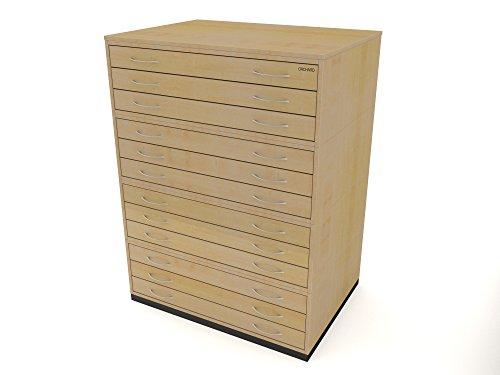 Heavy Duty traditionele stijl A1 12 lade plan borst esdoorn papier opslagkast met twaalf lades in staat om A1 formaat papier