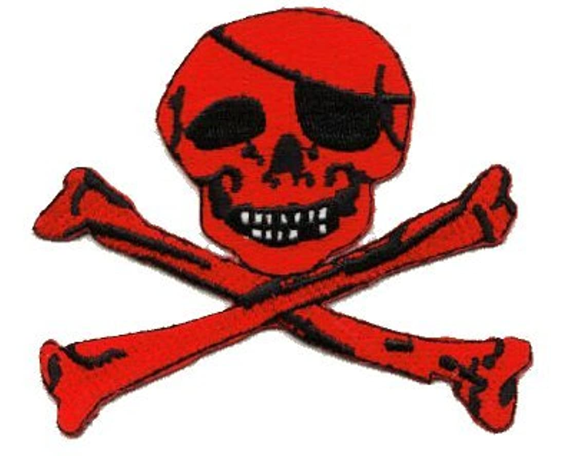 Skull with Bones (red) iron-on embroidered patch