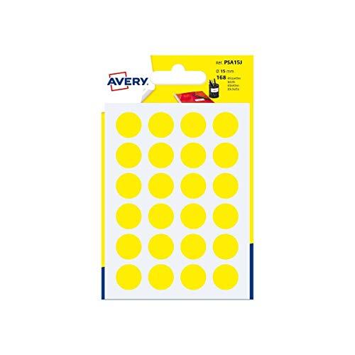 Avery Italia PSA15J Etichette Adesive Rotonde, A6, Giallo
