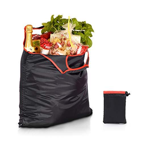 gripONE XXL Shopper Red - große, Faltbare Einkaufstasche aus robuster und wasserabweisender Fallschirmseide inkl. Mini-Beutel zum Verstauen