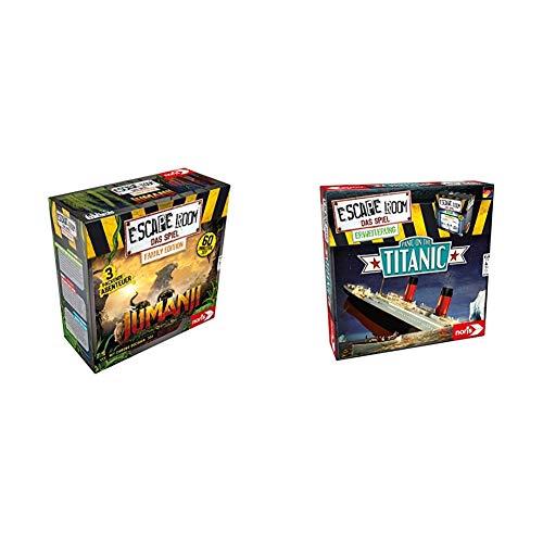 Noris Escape Room Jumanji (Family Edition) - Familien und Gesellschaftsspiel für Erwachsene und Kinder & Escape Room Erweiterung Panic on The Titanic - Familien und Gesellschaftsspiel für Erwachsene