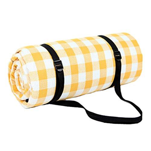 zhbotaolang Faltbare Tragbare Große Picknickdecke Wasserdichtes Camping Verdicken Pad(Gelb Weiß 150 * 200cm)
