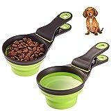 A2m-czw 2 PACK Glatte Hundefutter Messbecher Food Scoop Mit Clip, Zusammenklappbarer Reiseclip Food Klipscoop Messbecher Für Vogelkatze Oder Hundefutter (Size : 2 Cup Capacity)