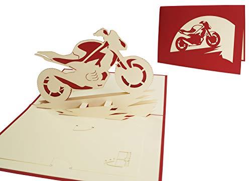 POP UP 3D Karte Geburtstagskarte Gutschein grußkarten Fahrzeug Motorrad ohne (#157)