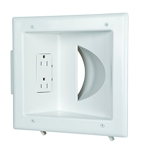 DATA COMM Electronics 45-0031-WH Recessed Low Voltage Media Wall Plate with Duplex Receptacle - White