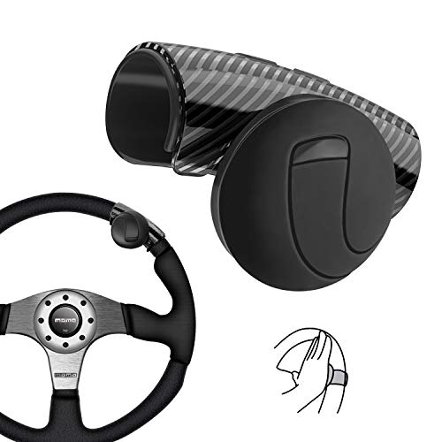 Universal Lenkrad Knopf, Mühelos Drehen, Geräuschlos, Flexible Steuerung für Auto Traktor LKW Boot (Schwarz)