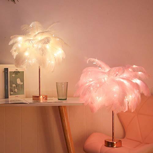 Moderne Feder-Tischlampe, Feder-Lampe, elegante Feder-Lampe, Nachttisch-Lichter für Schlafzimmer, Wohnzimmer, Kinderzimmer, Hochzeit, Feder-LED-Lampenschirm, Fernbedienung, Nachttischlampe rose