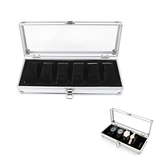 Caja de Reloj de Aluminio Caja de Almacenamiento de Reloj de Color Astilla Caja de decoración de organización de Reloj para el hogar(6 Slots)