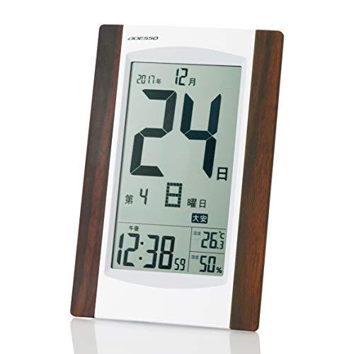 ADESSO(アデッソ) 目覚まし時計 日めくり 電波時計 六曜 温度 湿度 日付表示 記念日設定機能付き 置き掛け兼用 ホワイト KW9256
