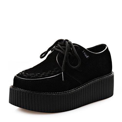 RoseG Zapatos Cordones Plataforma Gótico Punk Ante Creepers Mujer Negro Size38
