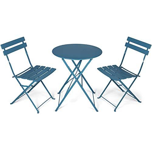 Vanage VG-6941 Bistro, Balkonmöbel Set 3 Teilig, klein und klappbar, wetterbeständig, wasserfest, Besteht aus 1 x runder Tisch und 2 x Stühlen, Metall, für Balkon, Garten, Terrasse, dunkelblau