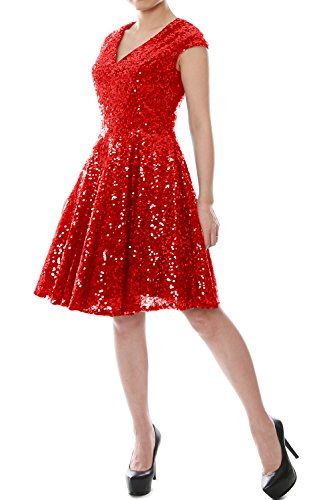 MACloth Women Cap Sleeve Party Formal Gown V Neck Sequin Short Bridesmaid Dress (42, Red)