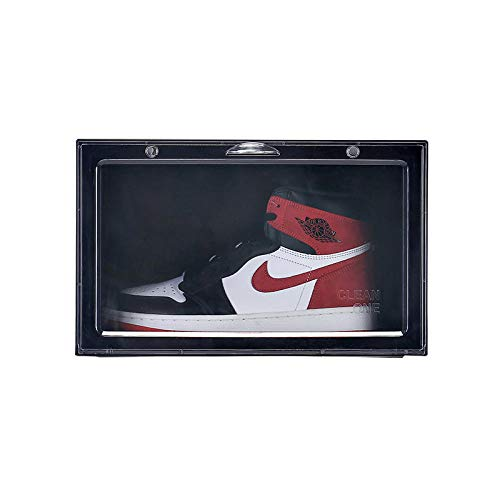 yqtoy Schoenenkast Home Basketball schoenendoos vocht- en stofdicht kunststof transparant opbergen schoenendoos vitrine schoenenkast zwart