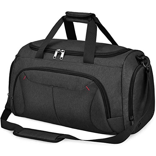NUBILY Sports Gym Bag Duffel Bags with Shoes Compartment Waterproof Large Training Sport Holdall Travel Overnight Weekend Bag for Men and Women 40L Black