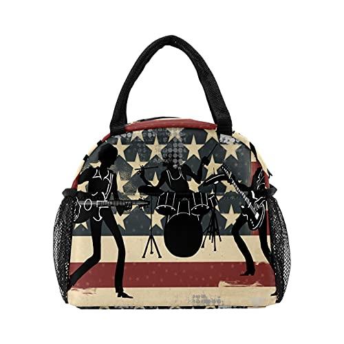 Bolsa de almuerzo con bandera americana retro para mujer, con aislamiento personalizado, reutilizable, bolsa térmica para el trabajo, picnic