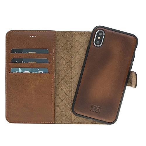 Slim Magic Wallet Case für iPhone X/XS   Multifunktionale handgefertigte Echtledertasche mit Magnetverschluss & drei Kartenfächern und scheinfach & leichter Rahmen (Cognac Tan)