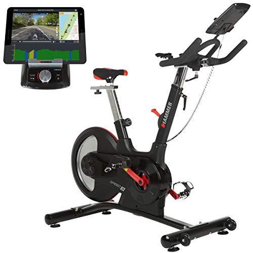 HAMMER Speed Racer S, Speedbike, Indoor Cycle, 22 kg Schwungmasse, LCD-Screen + APP-Steuerung für Smartphone, Bluetooth Anbindung, kompatibel mit: iConsole+, Kinomap und BitGym