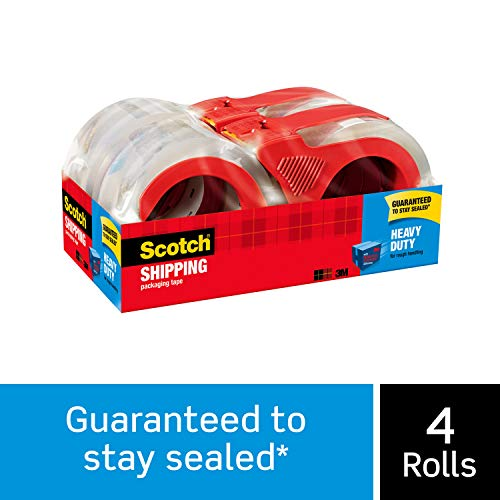 "Scotch Heavy Duty Shipping Packaging Tape, 1.88"" x 54.6 Yards, 3"" Core, Clear, Great for Packing, Shipping & Moving, 4 Rolls with Refillable Dispensers (3850-4RD)"