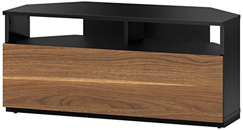 Sonorous TRD100 Meuble TV d'angle Noir et Noyer 100cm pour TV jusqu'à 50'