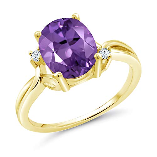 Gem Stone King 2.33 Ct Oval Purple Amethyst White Created Sapphire 14K Yellow Gold Ring (Size 7)