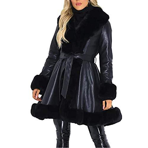 Kanpola Damen Kunstpelz Mantel Lang Leder Winterjacke Kunstfellmantel Winter V-Ausschnitt Pelzmantel Cardigan mit Tasche und Bänder Elegant Jacken Outwear