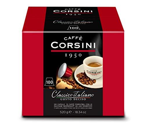 Caffè Corsini Dcc190 - Classico Italiano Miscela di Caffè in Capsule Compatibili Nespresso, Gusto Forte e Deciso - Confezione da 100 Capsule