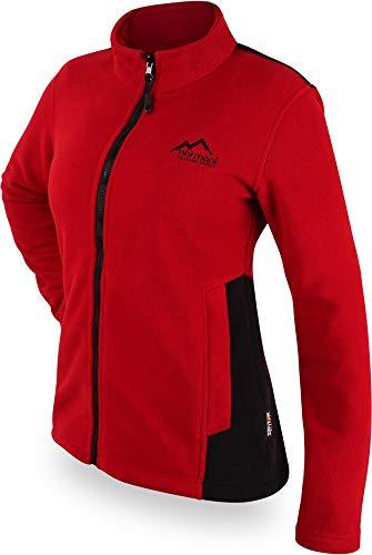 normani Damen Fleecejacke in zweifarbiger Optik mit Stehkragen und großen Taschen mit ZIP-T3k System Farbe Rot Größe M