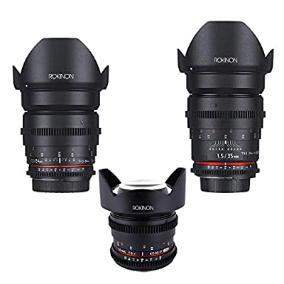 Rokinon Cine DS WA Lens Bundle, 14mm T3.1 24mm T1.5 35mm T1.5, for Canon EF MT from Rokinon