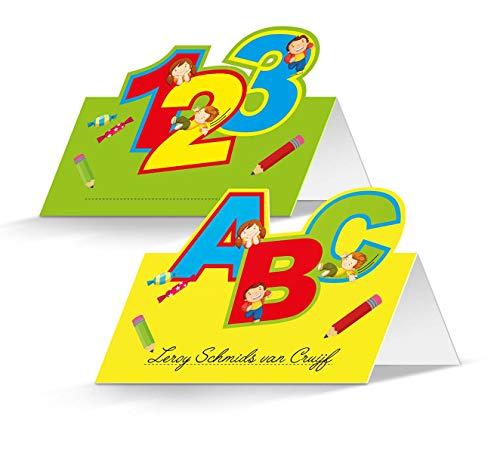 Folat 61341 - Tischkarten Schulanfang, 24 Stück, 1. Schultag, Schulbeginn, Platzkarten, Namenskarten, Schulstart