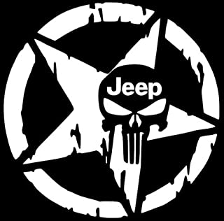 KINGDECAL Star Jeep Punisher Skull Decal Vinyl Sticker Wrangler Rubicon Willys