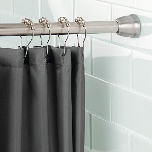 mDesign Barra para Cortinas de baño sin Taladro – Barra para Ducha Extensible con tecnología Constant Tension – Soporte de Cortina de baño con fácil Montaje – Medidas: 109-190,5 cm – Acero