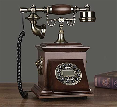 ELKeyko Teléfono inalámbrico gsm SIM Tarjeta Fija Wireless Landline Antique Fija Retro Teléfono Home Office Hotel Madera Metal para Personas Mayores (Color : Coffee)