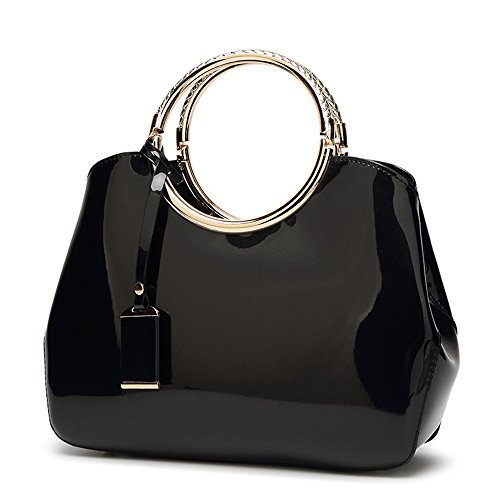 Womens Handbags, Ladies Top Handle Bags, Patent Leather Stylish Tote Shoulder Bags Purse for Work, Wedding, Shopping, Dating (Black)