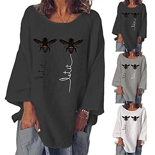 Fishoney T-Shirt Femme col Rond Manches Longues imprimé Abeille Hauts de t-Shirt décontractés d