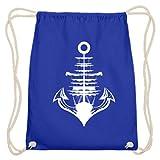 SPIRITSHIRTSHOP Spiritshop, ancla, barco, mar, océano, marinero, marinero, protección, seguridad, puerto, Hansestadt – algodón Gymsac, color Azul real, tamaño 37cm-46cm