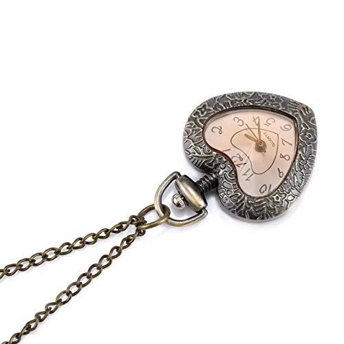 Moda Vintage Retro Reloj de Bolsillo de Cuarzo Amor en Forma de corazón Colgante de Cristal Suéter Cadena Reloj Collar Regalos Asshown