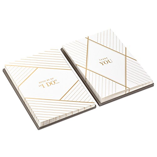 Hallmark Wedding Proposal and Wedding Party Thank You Card Set (10 Will You Be My Cards, 10 Wedding Party Thank Yous and Envelopes, Gold Tailored)