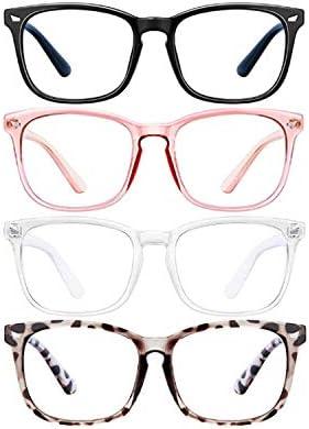 Blue Light Blocking Glasses for Women Men 4Pcs Computer Game Glasses Square Eyeglasses Frame product image