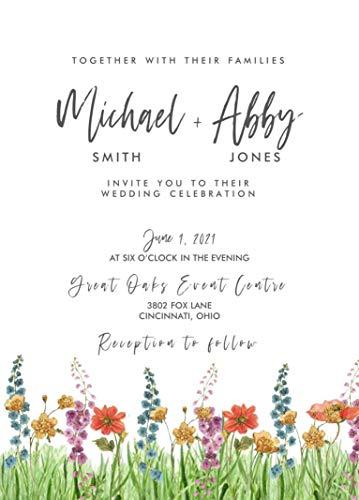 wildflower hippie wedding invitations